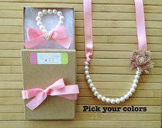 Custom shabby chic jewelry set with rhinestones - pink & latte - pick your colors - by MissSweetPeaBoutique, $22.00