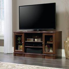 Sauder Regent Place TV Stand for TVs up to 50 inch, Euro Oak Finish, Brown Sauder, 60 Inch Tvs, Entertainment Stand, Tv, Tv Stand Wood, Entertainment Credenza, Tempered Glass Door, Oak Finish, Sauder Woodworking
