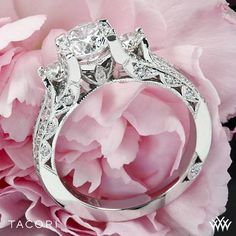 Tacori Classic Crescent Pave Three Stone Engagement Ring