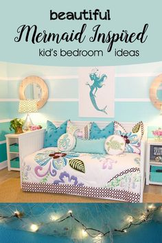 The Little Mermaid is a timeless story so why shouldnt it inspire the decorating theme for a little girls room? We love these beautiful rooms and their stunning details inspired by the sea. The Little Mermaid i Bedroom Themes, Bedroom Decor, Bedroom Ideas, Master Bedroom, Kids Bedroom Boys, Kids Rooms, Mermaid Bedroom, Mermaid Nursery, Inspiration For Kids