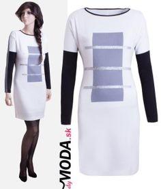 Trendové čiernobiele krátke šaty so šedo-striebornou potlačou- trendymoda.sk