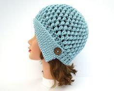 Light Blue Cloche - Crochet Hat With Button - Women's Cloche - Flapper Hat - Asymmetrical Hat - 1920s Cloche Hat - Crochet Accessories by BettyMarieJones on Etsy