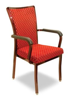 """""""Selane Arm Chair"""".  Stackable aluminum banquet with upholstered seat and back. A perfect addition to any banquet center.  Please contact us for pricing (718)363-3097."""