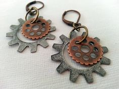 Steampunk Gears and Cogs Earrings I -- mixed metals by sunfleur1 on Etsy