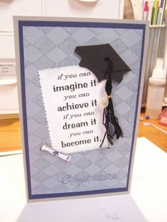Graduation Cards  Change up>Girl Layout: sentiment from Feel Goods; embossing folder in background-flower garden
