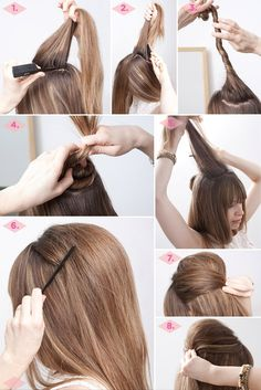 1. Using your rat tail comb, section off two portions of hair: the front-most section, and the crown. Get the front portion out of the way by pushing it forward, Cousin It-style, or gathering it into an elastic.  2. Next, lightly tease the section at your crown.  3. Twist that section into a small bun, securing with bobby pins.  4. You may have to play around with placement, depending on where you wish your bouffant to be.  5. Now, take the front portion of hair and, using your teasing brush, t