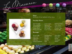 Le Macaron by Megan Cary, via Behance Food Web Design, Chocolate Espresso, Banana Coconut, Lemon Cream, Banana Split, French Vanilla, Matcha Green Tea, Creme Brulee, Food Industry