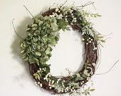 Garden Green Hydrangea Berry Wreath!  Like what you see? Check out our store at elizabethkatedecor.etsy.com!