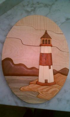 Lighthouse Intarsia Wall Hanging on Etsy, $75.00