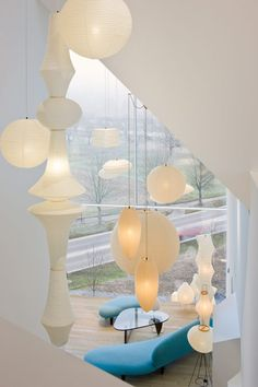 Hanging paper lights: VitraHaus by Herzog & de Meuron