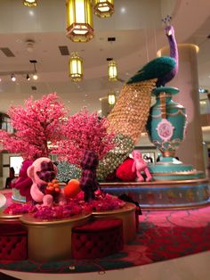Chinese new year display in a mall in hong kong february - Lunar new year decorations ...