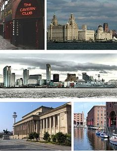 Liverpool Montage from the upper left: the Cavern Club, the Three Graces of the Pier Head (the Liver Building, Cunard Building and Port of Liverpool Building), the skyline of Liverpool's commercial district, the Albert Dock and St George's Hall The Places Youll Go, Great Places, Places Ive Been, Places To Go, Wonderful Places, Liverpool Home, Liverpool England, Beatles Museum, Europe