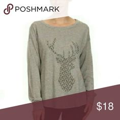 Nwt Gray crew neck deer sweater Gray in color. Deer featured on front. Crew neck. Long sleeved. Second pic shows design of Deer up close Tops