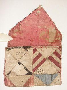 artpropelled:  Antique rare textile quilt 1700's 18th century patchwork stitched wallet purse
