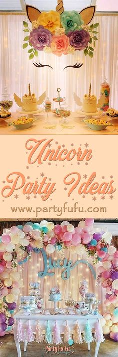 Rainbow Unicorn Party, Unicorn Themed Birthday Party, Mermaid Birthday, Unicorn Birthday Parties, First Birthday Parties, First Birthdays, Unicornio Birthday, Party Themes, Theme Ideas