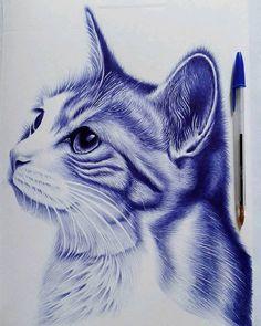 Realistic Animal Drawings, Pencil Drawings Of Animals, Biro Art, Ballpoint Pen Drawing, Art Drawings Sketches Simple, Ink Pen Drawings, Biro Drawing Sketches, Amazing Drawings, Drawing Artist
