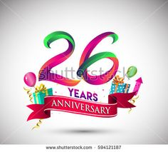 26th Anniversary Celebration Design, with gift box and balloons, Red ribbon, Colorful Vector template elements for your, twenty six years birthday celebration party.