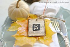 Customize your table setting with these easy-to-make DIY Fall place cards. They're pretty and the initial wooden tags can be re-used.