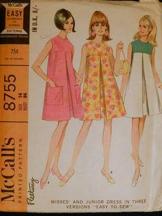 Vtg 1960s McCall 8755 Mod Inverted Pleat Yoke Top Tent DRESS Sewing PATTERN 14