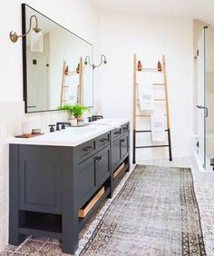We are starting our master bathroom renovation and I'm sharing my favorite bathroom designs that have inspired me for our Modern Vintage Bathroom! Bathroom Kids, Bathroom Renos, Grey Bathrooms, Beautiful Bathrooms, Master Bathroom, Boho Bathroom, Bathroom Ladder, Vanity Bathroom, Bathroom Hardware