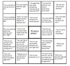 Asexual bingo ---- all of the horrible bigoted and prejudiced things non-asexual people say to asexual people