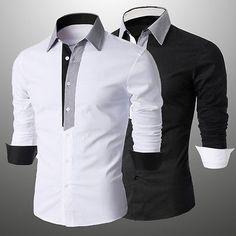Fashion Mens Luxury Long Sleeve Shirt Casual Slim Fit Stylish Dress Shirts Tops #Affiliate