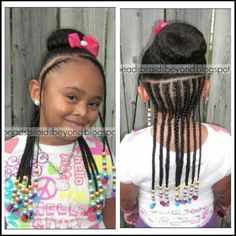 BEADS BRAIDS AND BEYOND / LITTLE GIRL HAIRSTYLES / BRAIDS / PROTECTIVE HAIRSTYLE / HAIRSTYLES / KIDS / BOW  / CORNROLLS / HAIRDO / UPDO / GIRL / HAIR BEADS / NATURAL HAIRSTYLES