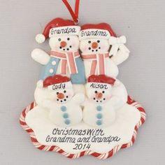 Two Grandchildren Personalized For Grandparents Christmas Ornament