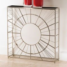 """9.92371 Global Views Radial Console-Nickel 36""""L x 8""""W x 36.75""""H Ts_1up_unpriced Oversized Item Center Glass Panel sold separately   Our radial console is made of nickel plated iron, with a granite top. Can highlight any of our 70 cm glass plates to match your decor, or is fantastic on its own."""