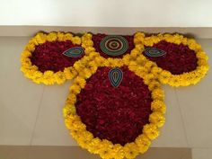 Design with flowers Rangoli Designs Flower, Rangoli Patterns, Rangoli Ideas, Rangoli Designs Diwali, Diwali Rangoli, Beautiful Rangoli Designs, Flower Designs, Rangoli With Flowers, Diwali Decorations At Home