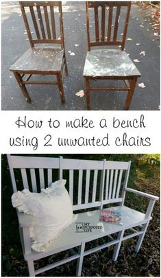 How to make a triple chair bench when you only have two chairs! #MyRepurposedLife #repurposed #furniture #chair #diy #project #bench