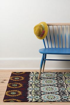 anthro rug, dipped bench