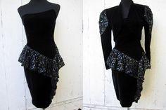80s Prom Dress XS / 1980s Black Velvet Sequins by SissysVintage, $30.00
