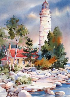 By Bridget Austin Art Aquarelle, Watercolor Pictures, Watercolor Artists, Watercolor Techniques, Watercolor Landscape, Watercolour Painting, Landscape Art, Painting & Drawing, Landscape Paintings