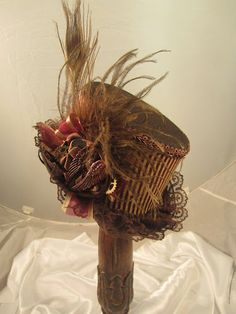 STEAMPUNK Small Top Hat  Brown Clock parts Ostrich by EmilyWayHats, $79.00