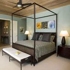 wall color in bedroom and hallway, love the ceiling.
