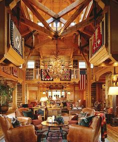 Remarkable soaring ceiling in this log home.....