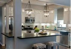 kitchen: Amazing White Small Kitchen Design Ideas With Great Black Countertop Decor Also Fashionable Chandelier Ideas - Modern Kitchen Ceiling Lights Ideas, Liiso: Home Design and Decorating Ideas Kitchen Redo, Kitchen Layout, Kitchen Living, New Kitchen, Kitchen Makeovers, Kitchen Small, Kitchen Black, 1970s Kitchen, Rustic Kitchen