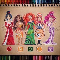 from - Finished my third and final social media disney princess artwork. I think you'll all agree that these are the sassiest princesses created by Disney. Mulan Moana (she's new) Merida Anna and Meg. Amazing Drawings, Beautiful Drawings, Cute Drawings, Amazing Art, App Drawings, Disney Drawings, Art Sketches, Bild Girls, Social Media Art