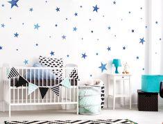 Blaue aquarell Wandsticker Sterne - 50 Stück