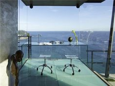 Glass Office, Ocean Views, Spectacular Oceanfront Home in Tossa De Mar, Spain Office With A View, Home Luxury, Luxury Interior, Modern Interior, Infinity Pool, Glass Office, Glass Desk, Glass Walls, Modern Mansion