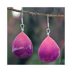 Natural Orchid Petal 'Chiang Mai Kiss' Earrings (Thailand) | Overstock™ Shopping - Great Deals on Novica Earrings