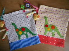 Dino applique bags