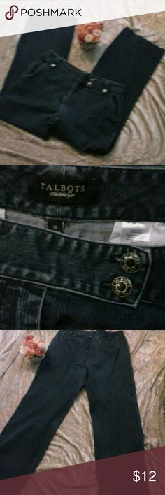 "Talbots Jeans Dark Wash Classic Fit Size 12 Talbots Jeans with great Talbots Buttons and belt loops.  Measures Flat lay waist 17"" Inseam 31"". Bundle and save! Talbots  Jeans"