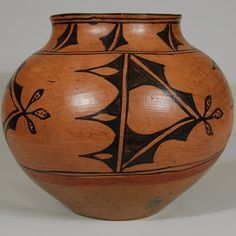 "#adobegallery - San Ildefonso Pueblo Black-on-red Olla without Lid. Category: Historic Origin: San Ildefonso Pueblo Medium: clay, pigment Size: 10"" tall x 11-3/4"" diameter Item # C3443B"