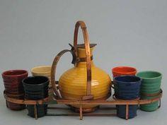 vintage beverage set by bauer pottery