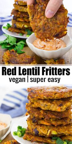 These potato fritters with red lentils are super easy to make and so delicious! … These potato fritters with red lentils are super easy to make and so delicious! They're best with spicy sriracha mayonnaise! Find more vegan recipes and vegan dinner ideas o Vegan Foods, Vegan Dishes, Vegan Vegetarian, Eating Vegan, Vegetarian Recipes Lentils, Food Dishes, Vegan Dinner Recipes, Whole Food Recipes, Cooking Recipes