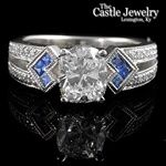 Colored Engagement Ring - 1.84 CTTW - Sapphire Accents On Each Side Beaded Edge