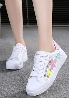 online store 2ed1e ba267 White Round Toe Flat Stars Print Casual Shoes
