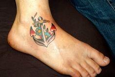 Nice Design of Girls Anchor Tattoo Design Photo, Anchor Tattoo Meaning For Girls Girl Anchor Tattoos, Feminine Anchor Tattoo, Anchor Tattoo Meaning, Anchor Tattoo Ankle, Ankle Tattoo, Tattoo Girls, Tattoo Designs For Girls, Girl Tattoos, Tattoos Skull